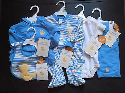 Lot of Baby Carters Little Duckie Blue Cardigan Pants Bib Sleep Play 3- 6 Month