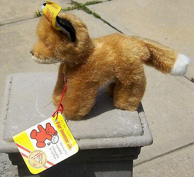 "1970's Steiff Fuzzy Fox w/Button,Label,+Tag-Standing Position 6-1/2"" Long-Mint"