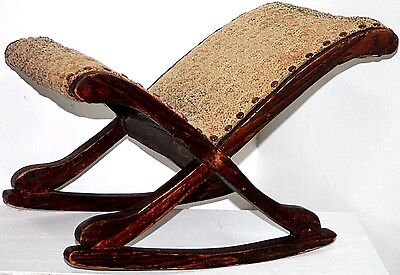 """Antique 19Th C. Victorian Needlepoint """"gout Rocker"""" Footstool For Foot Ailments."""
