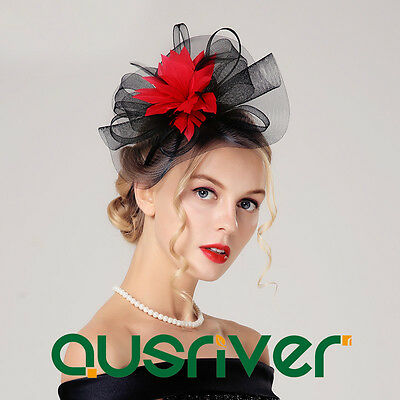 Floral Womens Wedding Hats With Feather Flowers Bride Fascinator Red Ladies Hat