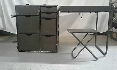 US Military Vintage Wood Field Desk Army Table OD Green Surplus w/ Chair