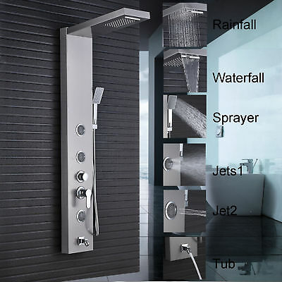 Stainless Steel Shower Panel Tower Rain Massage Handheld Shower Mixer Faucet