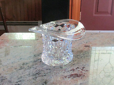 Vintage Clear Depression Glass Cube Pattern Top Hat Toothpick Holder