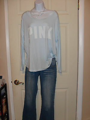 NWT! 2 piece lot VS PINK Slouchy Oversized Crew Scoopneck Shirt Top lightweight