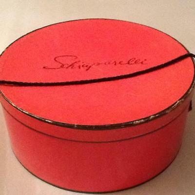 "Vtg 15 1/2"" Diameter Schiaparelli Pink and Black Cardboard Hat Box - Rope Handle"