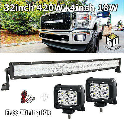 """CREE 32""""Inch 420W Curved+ 4"""" 18W Led Light Bar Offroad Driving Lamp 30"""" 34""""50"""""""