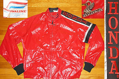 Vtg 70s Honda Hondaline Racing Cafe Racer Retro Motorcycle Jacket Motocross L