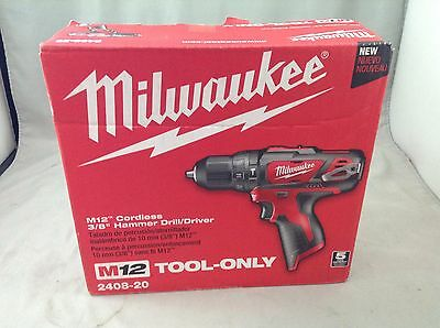 "New - Milwaukee M12 2408-20 12V Lithium Li-Ion 3/8"" Cordless Hammer Drill Driver"