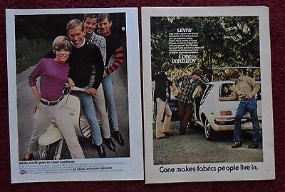 Lot of 4 Diff Levi's Cone Corduroy Slacks Print Ads ~ Lambretta Scooter Boxing +