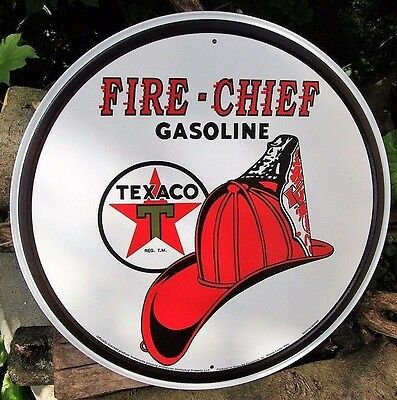 Texaco Gas Fire Chief Tin Metal Ad Sign Reproduction Shop Garage Picture