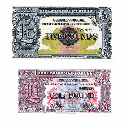 10 different British Armed Forces UK military currency notes crisp uncirculated