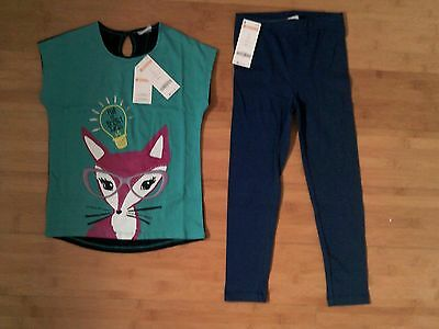 NWT Gymboree Girls Size 8 / 10 Bright Ideas Fox Outfit - Tee Top & Navy Leggings