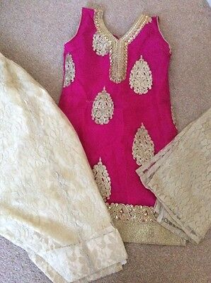 Girls New Indian Wedding Pink Party Suit Salwar Outfit Size 28