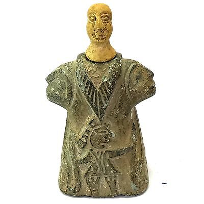 Wonderful Antique Old Bactrian Royal idol seated statue