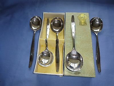 Vintage Collectable Cutlery Boxed Set Silver Plated Soup Spoons. A1 Twcs