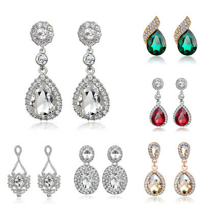 Women Ladies Diamante Teardrop Dangle Earrings Luxury Bridal Wedding Prom Gifts