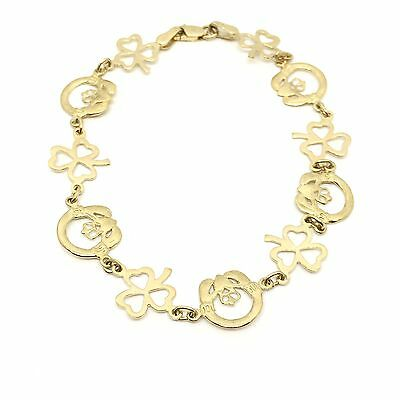 "Lovely Circa 1980 ""Claddagh & Clover"" 9ct Yellow Gold Bracelet"