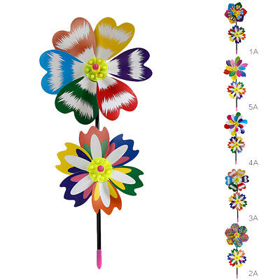 Windmill Party Fun Children Toy Spring Dual Plastic Flower Pinwheels Kids Gifts
