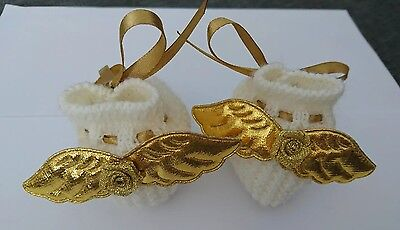 Cream angel wing baby booties, gold wings, handcrafted, gift