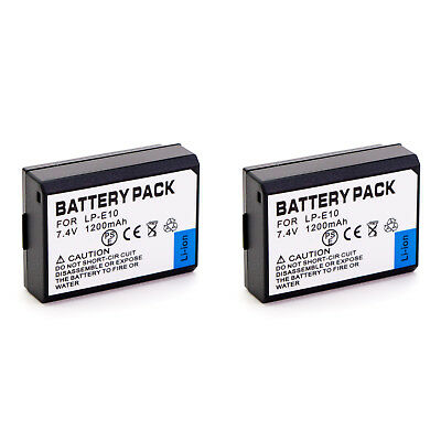 2 x LP-E10 battery for Canon EOS camera 1100D Rebel T3 Kiss X50 1200D T5 LPE10
