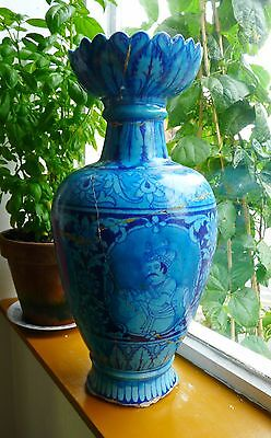 Antique Middle Eastern turquoise glazed vase- Large hand painted- Very rare