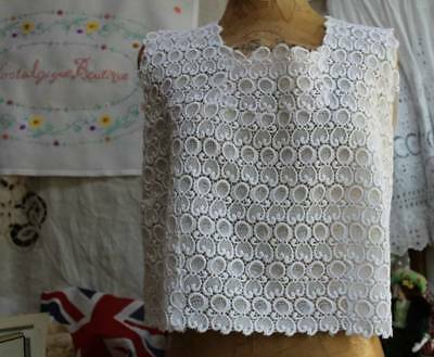 Vintage Hand Made Schiffli Lace Sleeveless Ladies Top Button Back