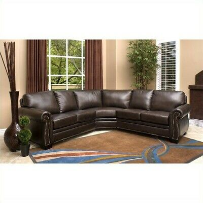 Cool Abbyson Phoenix Leather Sectional Sofa In Dark Brown Gmtry Best Dining Table And Chair Ideas Images Gmtryco