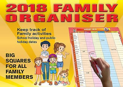 Family Organiser 2018 Big Print Wall Calendar by Bartel - Postage included