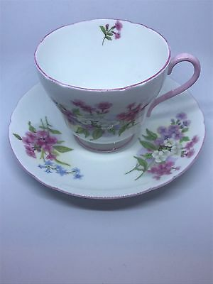 Floral Pink & White Shelley China Stocks Tea Cup & Saucer England #13428