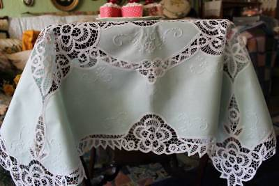 """Stunning Vintage Tablecloth Mint Green Ornate Tape Lace 41"""" sq"""