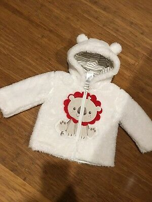 EUC Baby Boy Fisher Price Warm Winter Zip Hoodie Jumper Coat Jacket 3-6 Months
