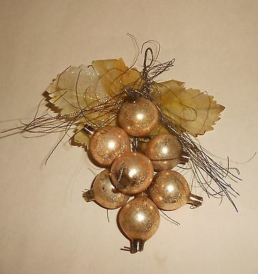 Vintage Glass & Tinsel Gold  Grape Cluster Christmas Ornament Ca 1930-40's