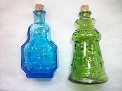 Vintage Miniature Wheaton Bottles Blue Balsam of Live Green Cape May Bitters