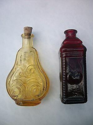 Vintage Miniature Wheaton Bottles Yellow and Red Hearts