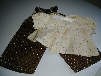 """Brown Geometric Print Bib Overalls&Cream Blouse for 16""""  Cabbage Patch Doll"""
