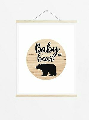 Baby Bear Wood Look Print, Poster Prints, Woodland Boho Nursery Baby Kids Decor