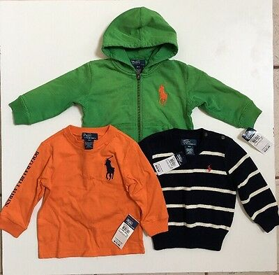 NWT Lot Of 3 Polo By Ralph Lauren Baby's Jackets, Sweater And T-Shirt Size 18 M