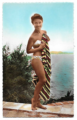 Cpsm A56 Miss Bikini Serviette Pin-Up Glamour Baigneuse Cuisse Nue French Beauty