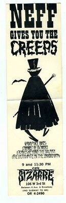 Cafe Bizarre Ad Card Neff Gives You the Creeps New York Greenwich Village 1950's