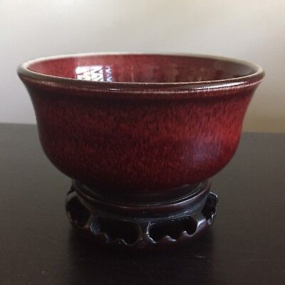 Fine Old Japanese Hare's Fur Red Oxblood SIGNED Porcelain Bowl w Zitan Stand WOW