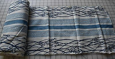 full Roll Vintage Japanese Indigo dyed Yukata cotton fabric, rice grass pattern