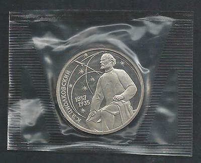 Russia 1987 Tsiolkovsky 1 rouble sealed coin Proof