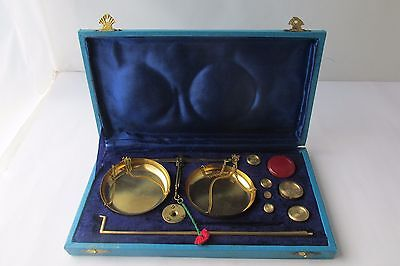 Antique Apothecary Gold Scale  w/Box Set Balance  &  Brass  WEIGHTS SET