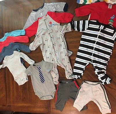 Baby Boy NB 0-3 Months Clothes Lot Gerber/Carters/Circo Onesies Rompers Pants