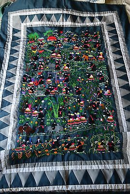 Hmong Story cloth, village scene, quilt-like