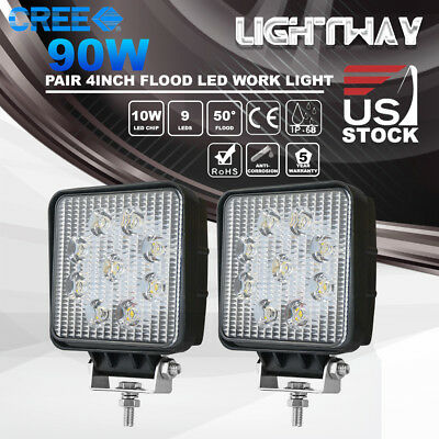 "2X 4""Inch 90W CREE LED Work Light Pod Truck UTE ATV Offroad Flood Driving Lamps"