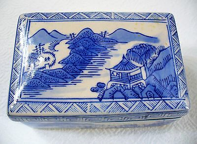 Chinese~Japanese~Porcelain~Cobalt Blue and White~Hand Painted~Lidded~Trinket Box