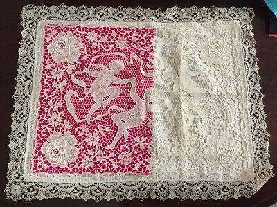 "Antique vintage mixed lace Boudoir pillow cover case cherubs 20"" x 16"""
