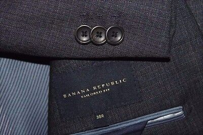 "BANANA REPUBLIC ""Tailored Fit"" Suit Men's 38R 32x32 Navy Blue Checks Wool"