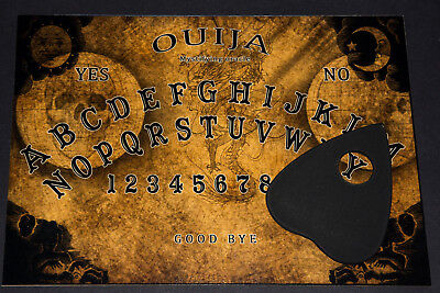 Classic Wooden Ouija Board game & Planchette with Instruction. Spirit hunt map